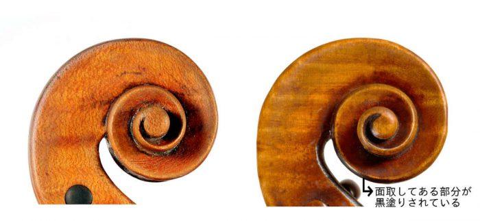 2つのストラディヴァリウスの渦巻き、左のスクロールの面取りには黒塗りがされていない。右のスクロールには黒塗りがされている