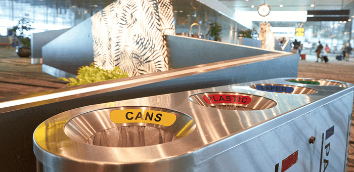 Airport recycling bins Singapore