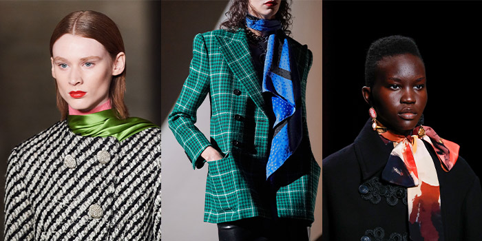scarf styles on the 2020 fall runways | 40plusstyle.com