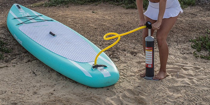 Using a standard manual air pump to inflate a paddle board can take up to 30 minutes.