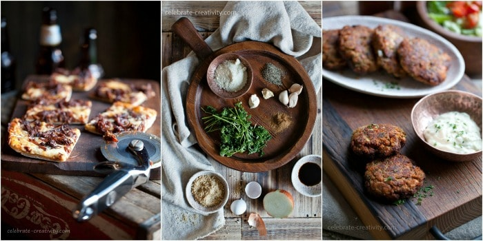The textures in these photos are created from different wooden elements like plates and cutting boards photography styling tips