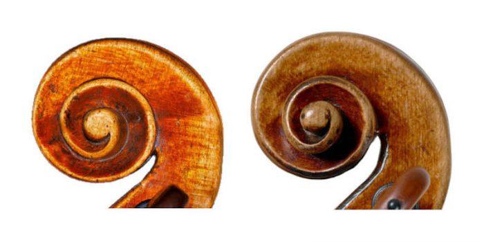 2つのガダニーニのスクロール、左側の渦巻きは面取りが黒くなっていない。右側の渦巻きの面取りは黒く塗られている