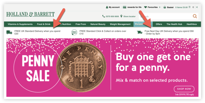 screenshot of Holland and Barrett homepage showing free shipping