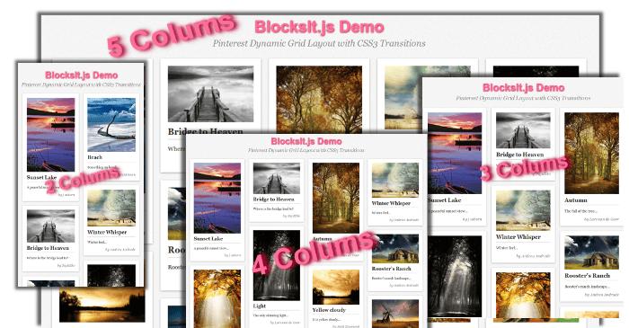 BlocksIt.js - jQuery Plugin for Dynamic Grid Layout like Pinterest