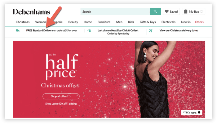 screenshot of Debenhams homepage showing free shipping