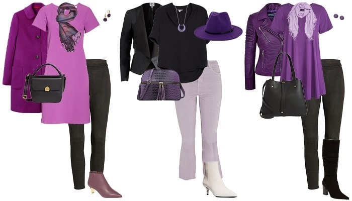 purple and black outfits | 40plusstyle.com