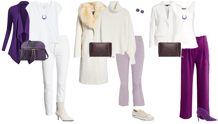 purple and white outfits | 40plusstyle.com