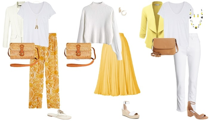 White and yellow outfits | 40plusstyle.com