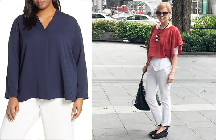 tips to hide your belly - Don't tuck your tops | 40plusstyle.com | fashion over 40