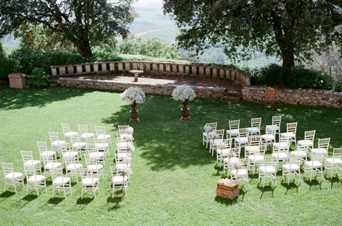Wedding Ceremony Setup At Borgo Pignano In Tuscany In Italy With Sposiamovi Events