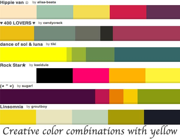 Color combinations with yellow   40plusstyle.com
