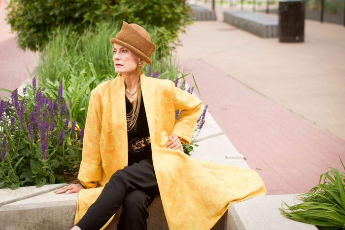 Judith wearing yellow coat | 40plusstyle.com