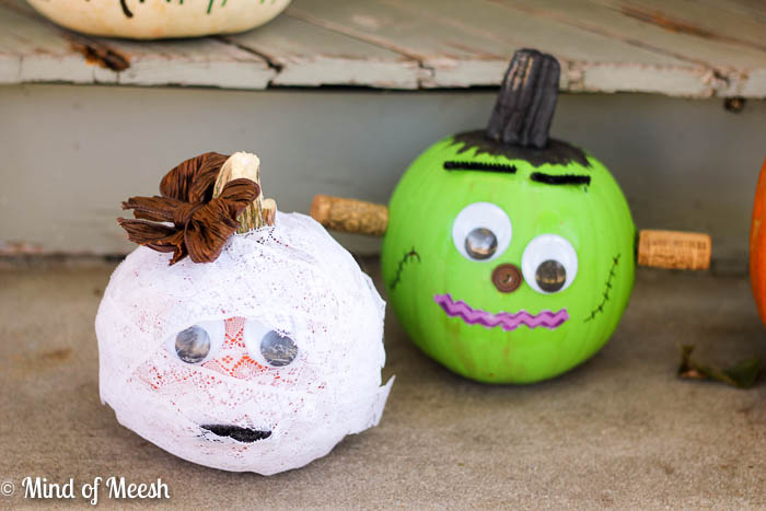 Mummy and Frankenstein Pumpkins
