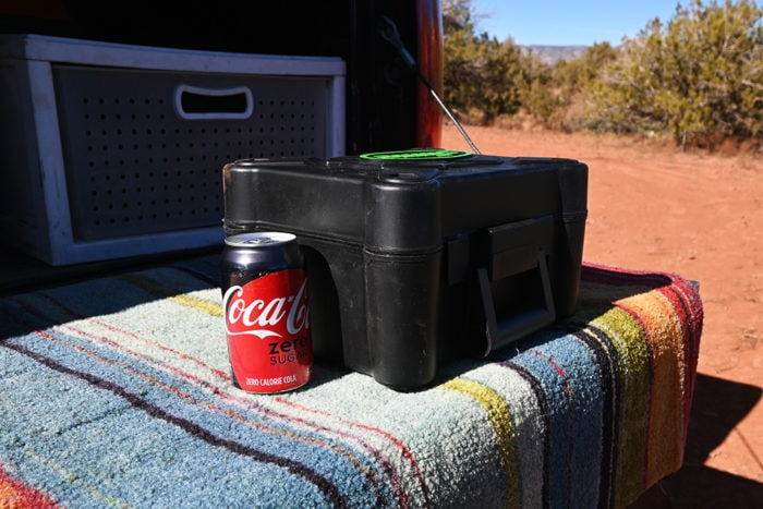 Slime 2X Heavy Dutry Direct Drive Tire Inflator box size comparison with a soda can.