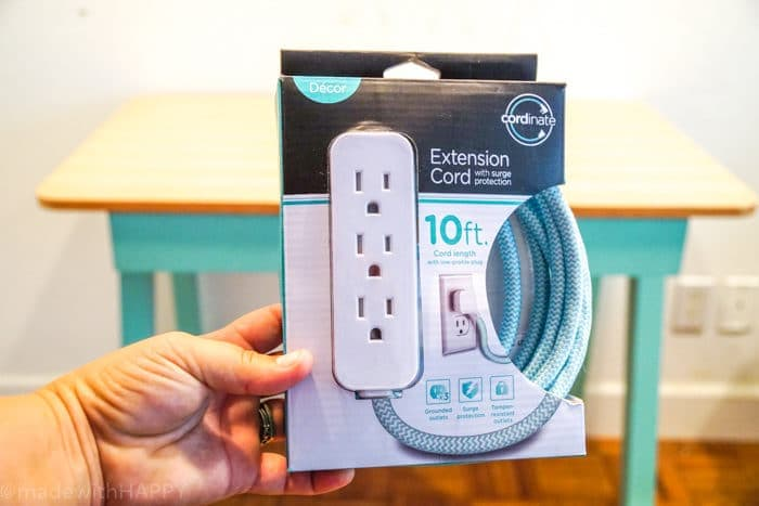 Different colored extension cords. DIY Charging Station. Make your own Charging Station just in time for back to school. DIY Phone Charging Station. How to make a charging station.