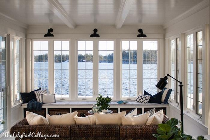 Lake House Blue and White Sunroom
