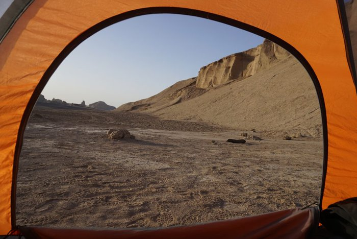 Camping at the Lut desert, Iran
