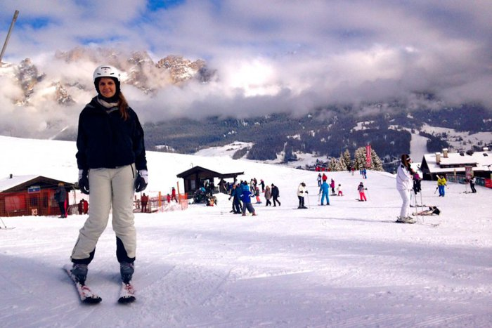 Skiing in the Alps, Tofana, Dolomites, Italy