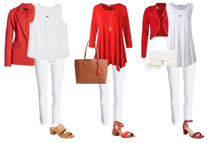 white jeans with red tops and jackets | 40plusstyle.com