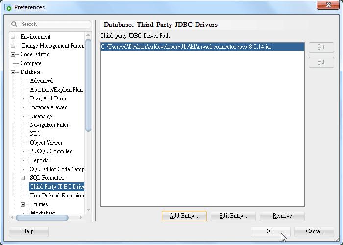 SQL Developer - Preference - Database - Third Party JDBC - MySQL Driver Added