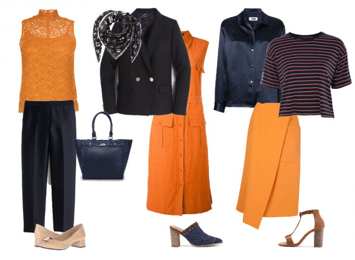 Wearing navy with orange | 40plusstyle.com