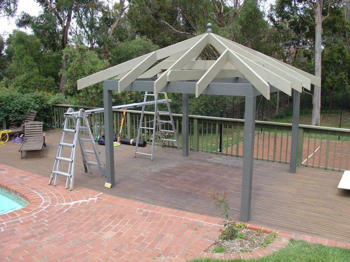 Garden Gazebo basic frame | rafters at 600mm centres - Freshly painted