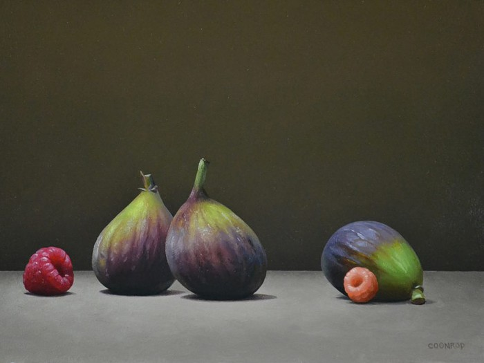 """3 Figs and 2 Raspberries9"""" x 12""""sold"""