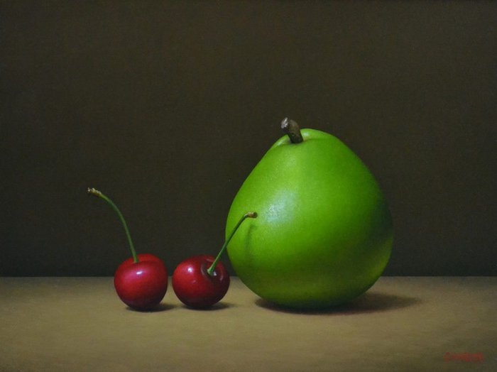 """2 Cherries and a Pear8"""" x 10""""sold"""
