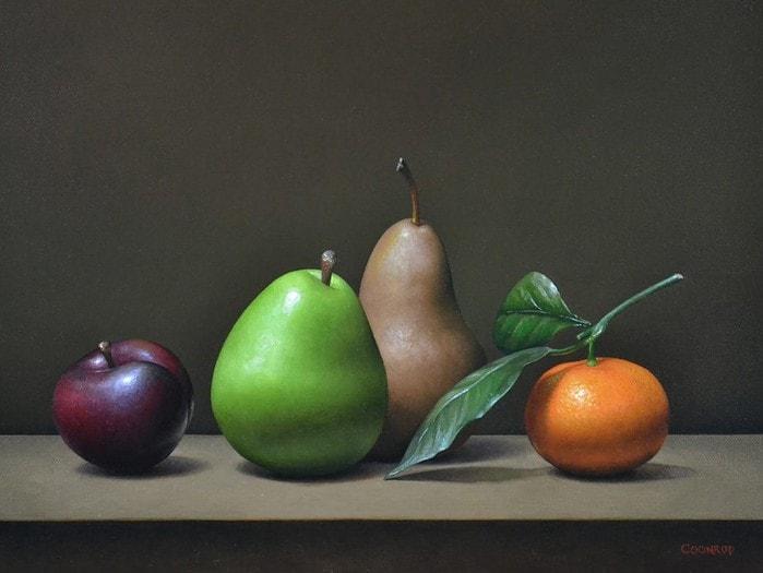 "Plum, Pears, and Mandarin Orange12"" x 16""sold"