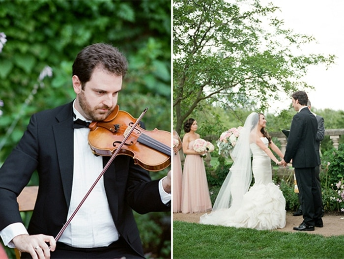 Violinist playing music for a wedding ceremony at the Chicago Botanic Garden