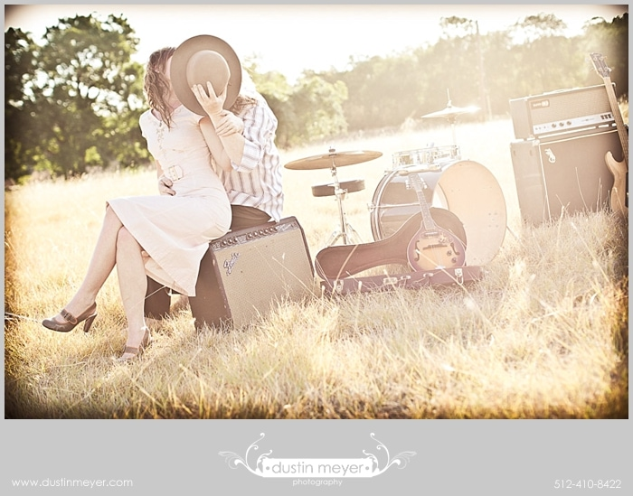 Austin wedding photographer Dustin Meyer captured this great engagement portrait of these two Austin musicians.