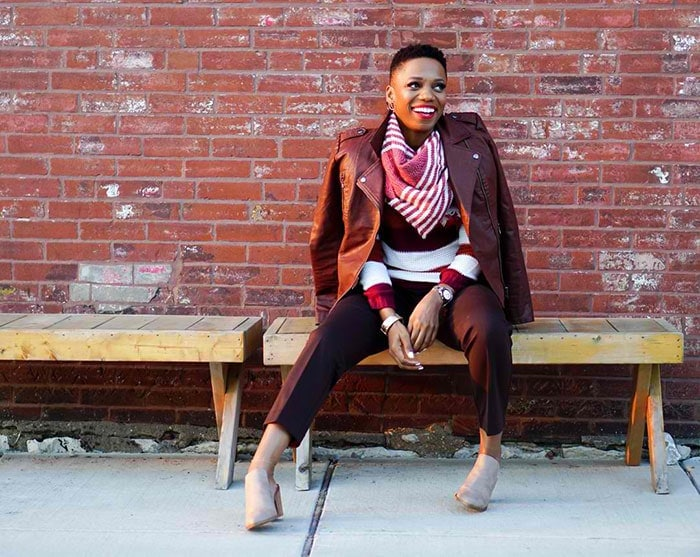 Psyche wearing a burgundy outfit | 40plusstyle.com