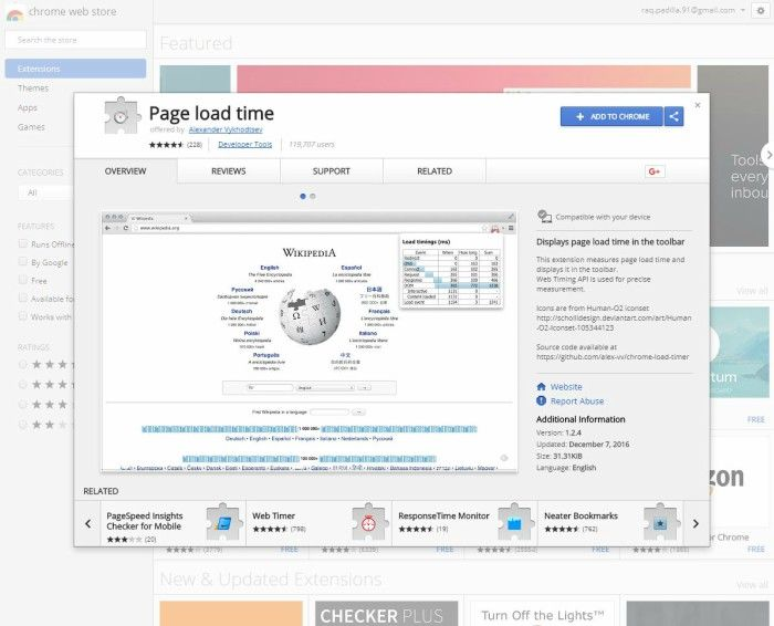 Extensiones SEO para Chrome Page Load Time