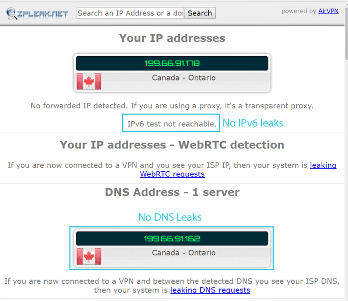 Windscribe DNS leak and ipv6 leak test