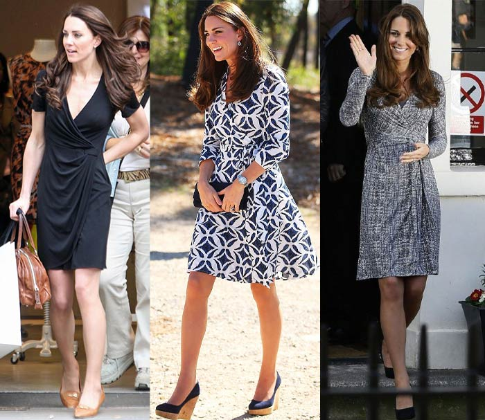 Kate Middleton, The Duchess of Cambridge in wrap dresses | 40plusstyle.com