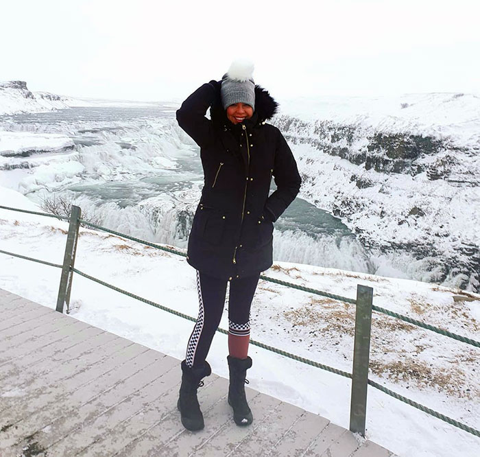 Helen wearing a stylish outfit for a snowy outing   40plusstyle.com
