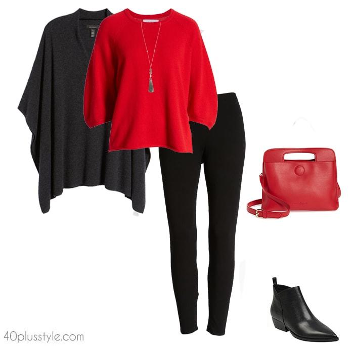 Poncho, longsleeves and leggings | 40plusstyle.com