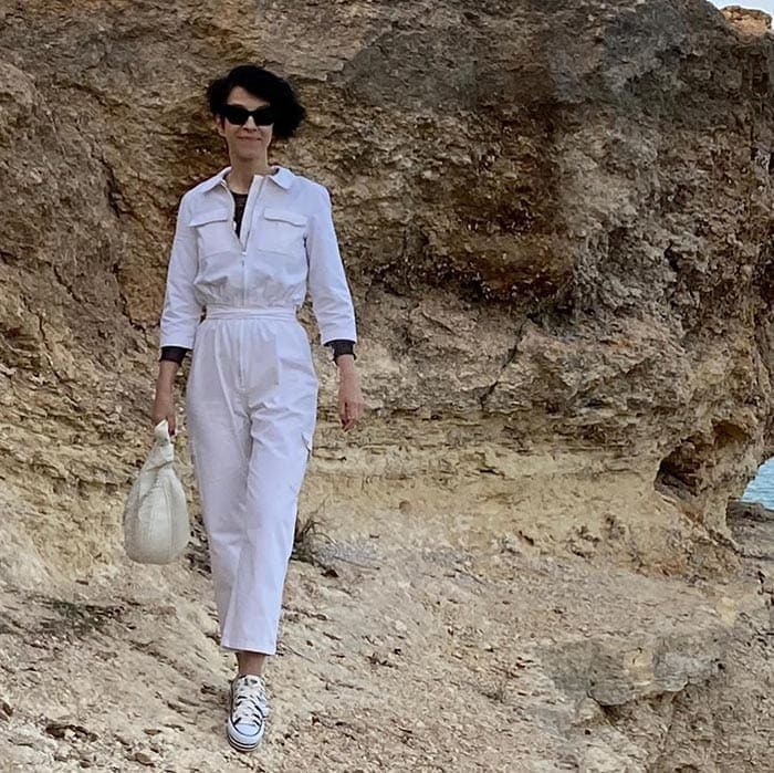 Summer jumpsuits for women - Natalia in a utility style   40plusstyle.com