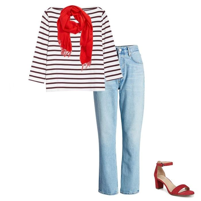 breton stripes outfit idea   40plusstyle.com