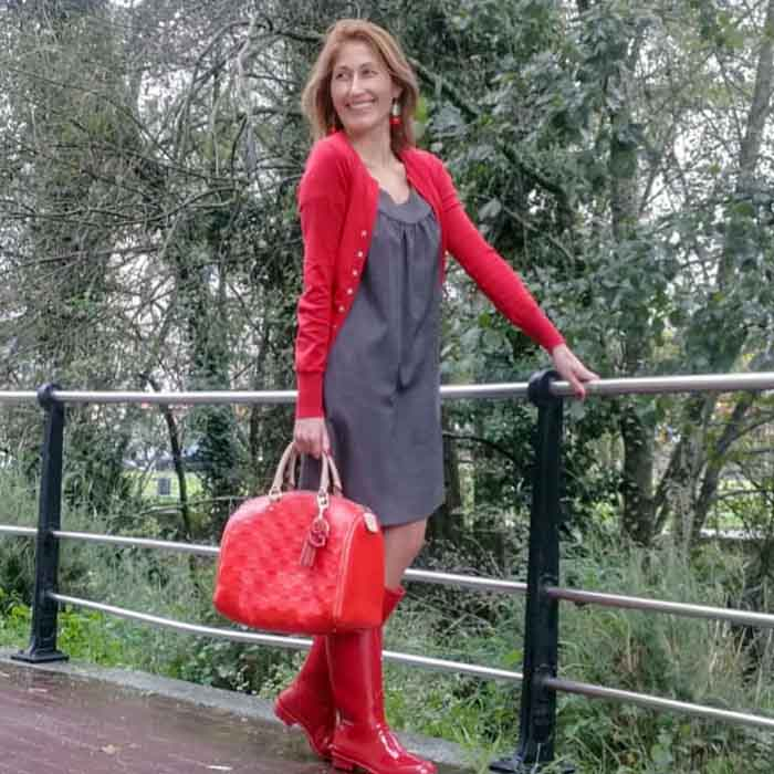 Red Jacket over Grey Dress with Red Bag and Boots | 40plusstyle.com