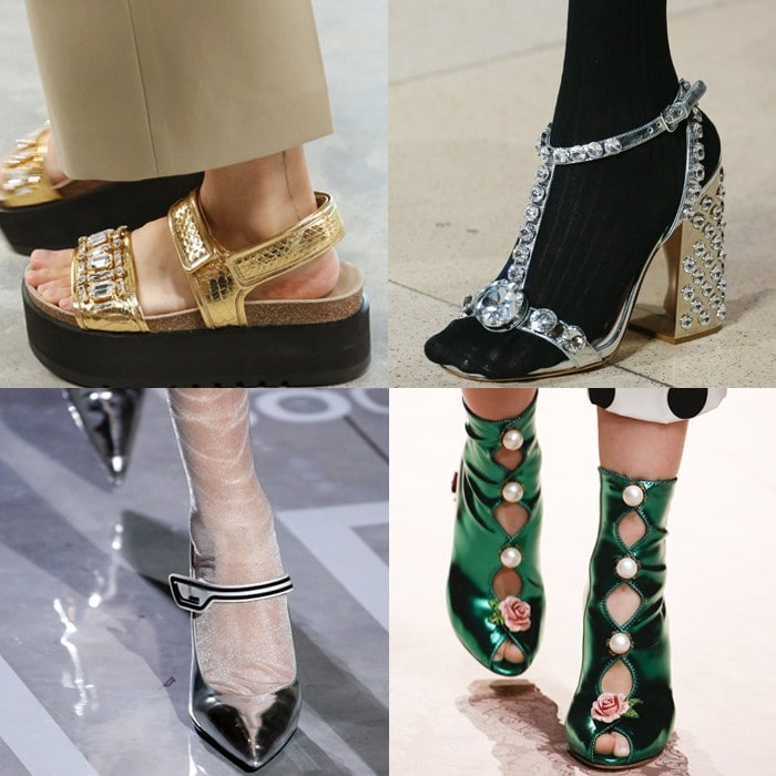 Crystal and metallics shoe trends | 40plusstyle.com