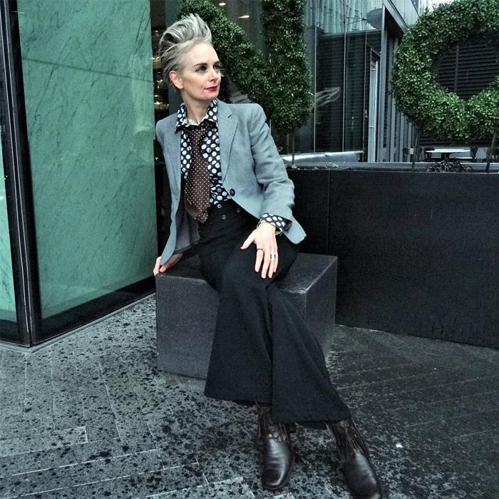 Melanie is wearing Polka Dot blouse over gray blazer and wide leg black pants | fashion over 40 | 40plusstyle