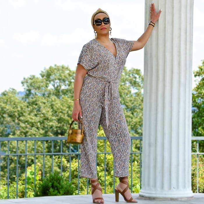 Animal print jumpsuit | 40plusstyle.com