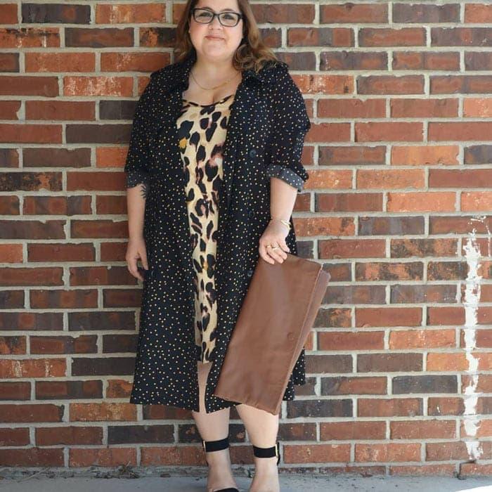 Polka dot coat with leopard print dress   40plusstyle.com