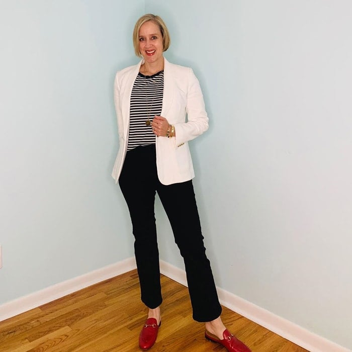 Stripe tee, blazer, jeans and mules | 40plusstyle.com