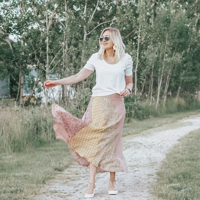 Jill wears her white tee with a maxi skirt | 40plusstyle.com