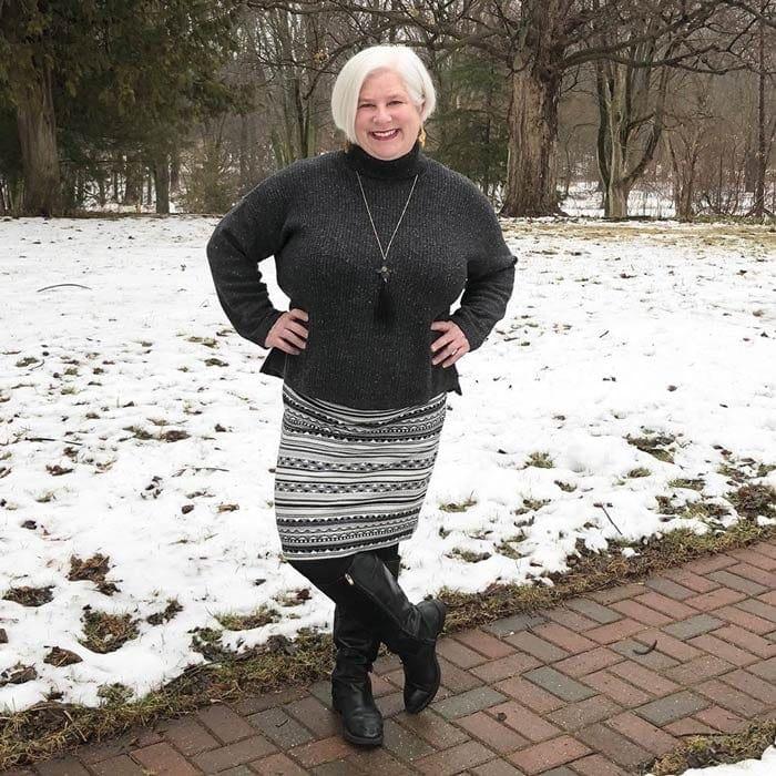 Best winter boots for women - Julie wears black riding boots | 40plusstyle.com