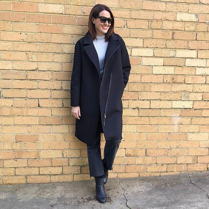 best winter coats for women - Karen wears a zipped style | 40plusstyle.com