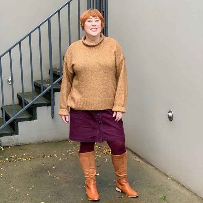 Best winter boots for women - Kim wearing tan knee-high boots | 40plusstyle.com