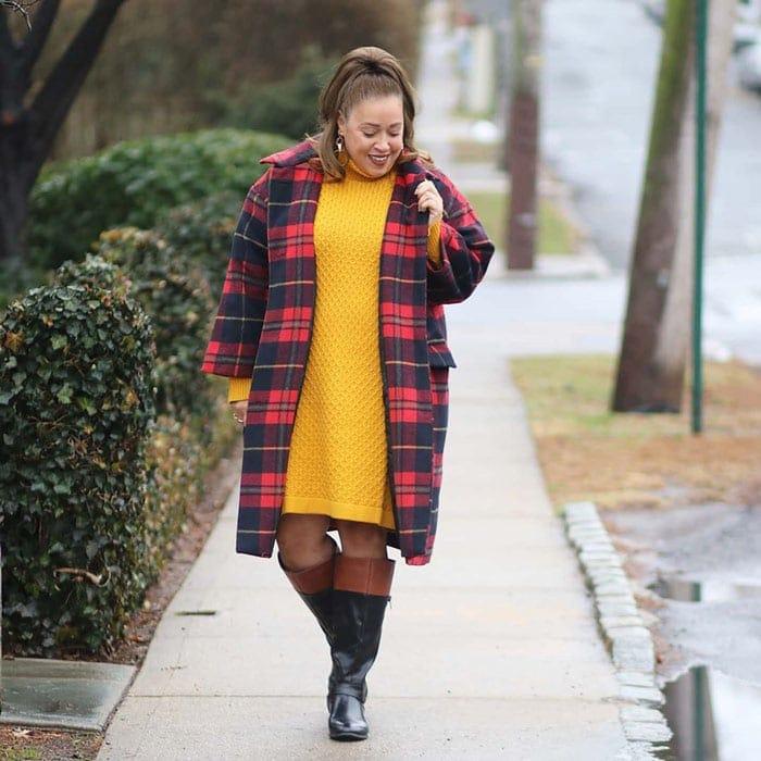 best women's winter coats - Sandra wears a plaid coat | 40plusstyle.com